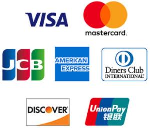 VISA(ビザ)・MasterCard(マスターカード)・JCB(ジェーシービー)・American Express(アメリカン・エキスプレス)・DinersClub(ダイナースクラブ)・Discover Card(ディスカバーカード)・銀聯(ぎんれん)